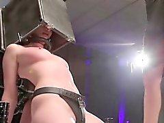 Lezdom dominant using head box cage