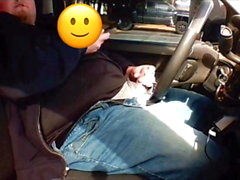 Dashcam catches chubby male masturbating in truck