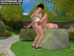 Horny 3D hunk getting fucked hard anally in the park
