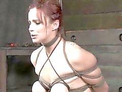 Breast bondage sub getting bastinado