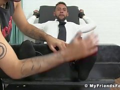 Young banker restrained for merciless tickling session