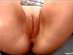 German slut on Big wheel no panties masturbating