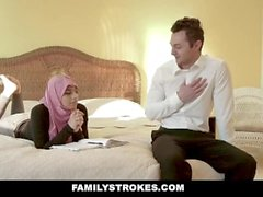 FamilyStrokes - Busty Chick Rides Fat Cock In Hijab