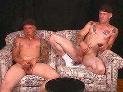 Straight skanky brothers wank together