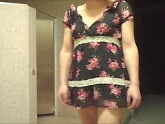 Miss Mayu show her tucked pussy in public toilets