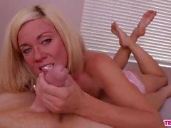 Super hot blonde babe POV cock sucking