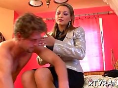Submissive lad gets humiliated in sexy femdom fetish session