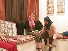 Shy Arab Princess foursome sex with hijab friends in party