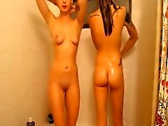 Cute Skinny Teen Roomates Get all Wet in the Shower