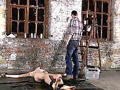 Sexy gay Chained to the warehouse floor and incapable to esc