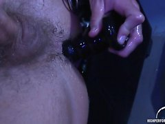 Drake Jaden jerks off and fucks a dildo decked in leather