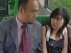 Voyeur Asian Teen Lets Guys Finger Her Hairy Pussy on a Bus