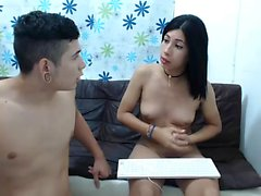 Sexy brunette latin teen gives hot blowjob
