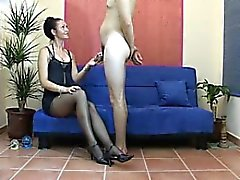 Jayna from 1fuckdatecom - Femdom cumshot on nylon to clean u