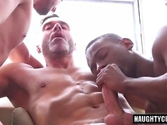 Big dick son threesome and cumshot