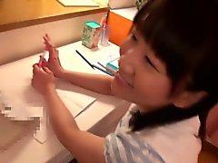 Japanese teen schoolgirl gargling some cum