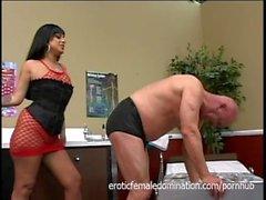 Sexy Mistress Ice La Fox Dominates The Hospital Janitor