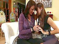Lesbians practice their wedding night