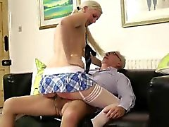 Blonde babe in stockings fucked by older British dude