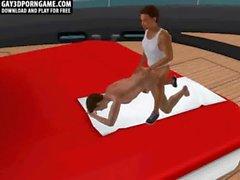 Horny 3D cartoon hunk gets fucked hard on a boat