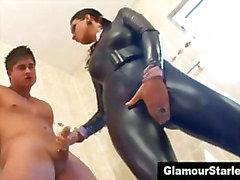 Clothed fetish bitch gets wet
