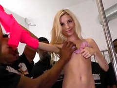 Throated blonde blowbang
