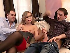 Sexy slut gets banged by two dudes