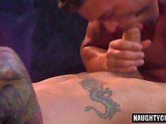 Tattoo jock flip flop with cumshot