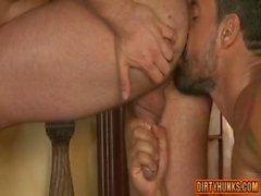 Muscle bear bareback with anal cumshot