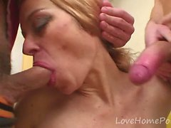 Hot milf gives her body to two guys