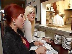 paar vaginale seks redhead kousen
