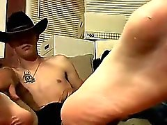 Gay cock Cowboy friends Ty and Lee have never jerked off tog