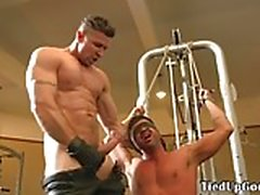 BDSM fitness sub blindfolded for cocksucking