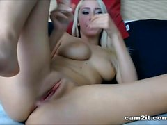 Natural Big Tits Blonde Dildoing And Fingering