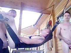 Outdoor Sling Bareback Threesome