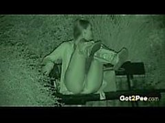 Amazing nightvision clip with a gal pissing in a park - Mylu-1