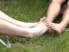 Milo slides and rides Tristans cock between his smooth feet