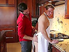 Alex is busy in the kitchen making his man some lunch but one thing leads to another and they decide to have a treat first