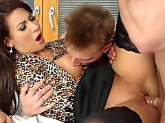 Babe rides dicks in 3way