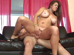 Rough Sex On The Couch For Busty Cougar
