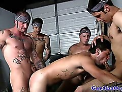 Muscled tattooed hunk take turn to drill dude