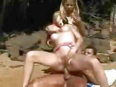Vintage beach threesome with two mad Tgirls