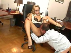 Cute, blonde Hungarian shows office skills in an interview