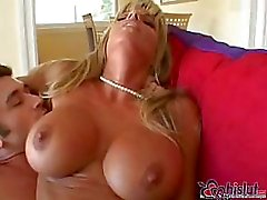 Dirty big-breasted blonde is fucking with horny dude while her hubby is away
