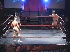 Tatted Irish Muscle Wrestler in Gold Trunks vs Chunky Heel
