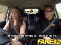 Fake Driving School threesome with spoilt teen in the mean orange machine