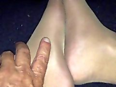 Cock in pantyhose