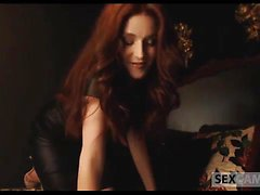 Nude redhead probes all her holes with sex toys