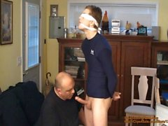Straight captive boy, tied and gagged, made to cum