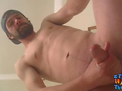 Bearded straight guy jacking and stroking until he cums